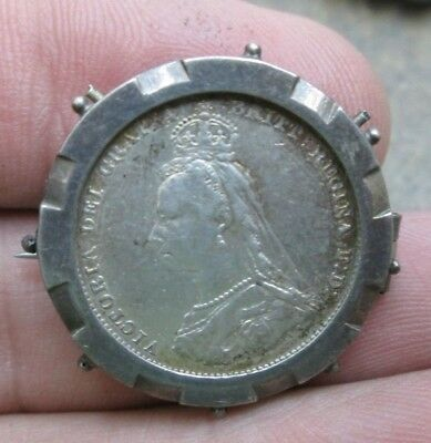 1887 Great Britain Queen Victoria One Shilling Silver Coin Brooch Pin Nice #2