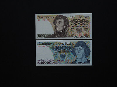 POLAND BANKNOTES SET OF TWO  500,1000 Zlotych - p145,146   1982   Mint UNC