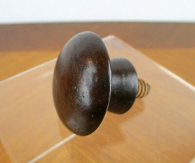 Antique Vintage Mahogany Wood Domed Round Drawer Pull Knob / Finial
