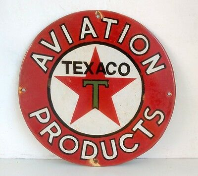 1940's Vintage Old Rare Texaco Oil Aviation Products Porcelain Enamel Sign Board