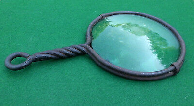 "Early 19th - 18th Century Wrought Iron 7½"" Magnifying Glass Antique Optical Lens"
