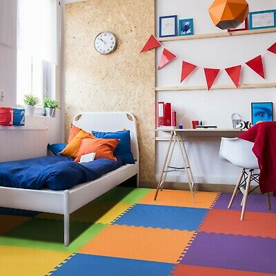 IncStores 24 SQFT Rainbow Play Interlocking Foam Floor Puzzle Mat - 6 Tiles