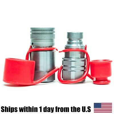 """3/4"""" NPT Skid Steer Bobcat Flat Face Hydraulic Quick Connect Couplers Couplings"""