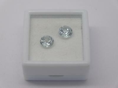 *pair Of Natural 1.74Ct Loose Aquamarine Round Cut Gemstones*