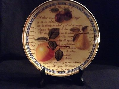 Royal Vale China Plate - Decorative with Fruit, Spanish Writing and Gold Trimmed