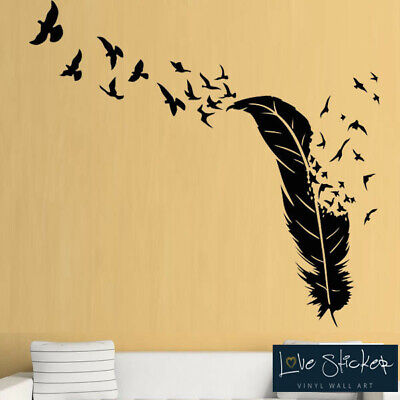 Wall Stickers Feather Birds Nature Animals Hall Tree Living Art Decal Vinyl Room