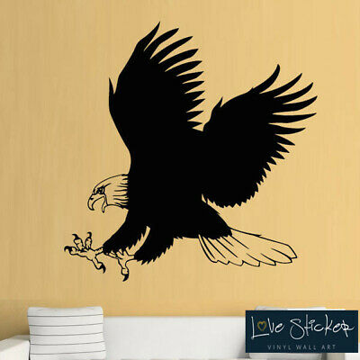 Wall Stickers Eagle Bird Prey Cool Animal Boys Living Hall Art Decal Vinyl Room