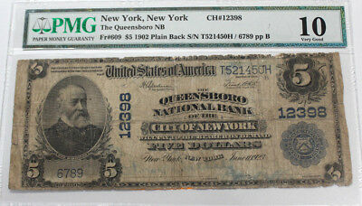 1902 Plain Back National Bank Note Charter #12398 Queensboro New York