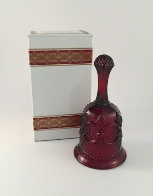 "Avon 1979 red hostess/dinner bell ""1876 Cape Cod Collection"" w/box pressed glass"