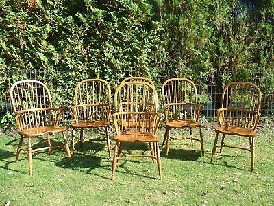 Set of 6 Beautiful Vintage Oak Windsor Arm Dining Chairs