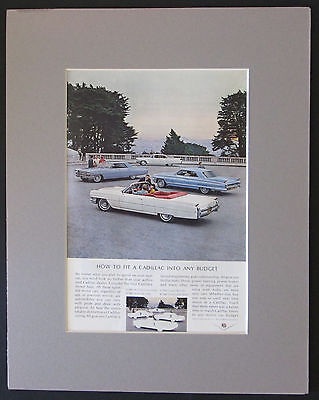 Cadillac Sedan,DeVille,Convertible 1960-64 Original AD Matted and Ready to Frame
