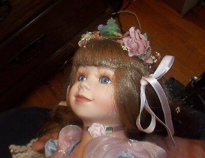 """Porcelain Doll in Blue with Pink Roses ~ 18"""""""