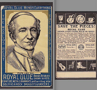 Pope Leo XIII Royal Glue Religious Catholic Puzzle 1800's Advertising Trade Card