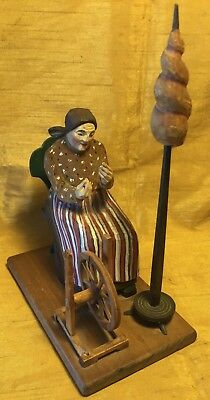 Vtg Swiss Wood Carving Painted Woman in Chair w Spinning Wheel Figurine