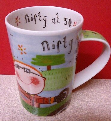 "Dunoon mug ""Nifty at 50"" designed by Katie Brettell - Lovely Condition"