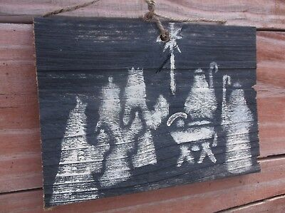 Primitive Nativity Jesus Mary Joseph Christmas wood sign barnwood farmhouse wall