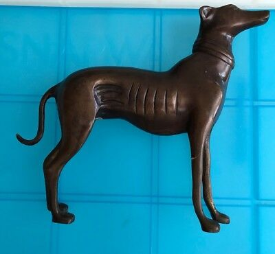 """Vintage Large Brass Greyhound Statue 8& 1/2""""Tall India"""
