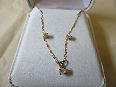14K Gold Diamond Necklace And Earrings