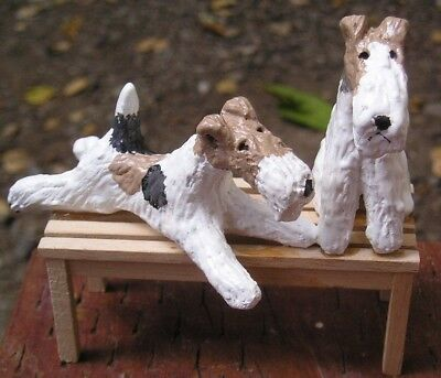 Wire Fox Terrier pair on WOOD BENCH!