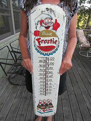 Original 1946 Frostie Root Beer Thermometer In Working Condition Extremely Rare