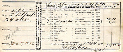 1872 $17.00 Receipt from the Beardsley Scythe Co. West Winsted, Connecticut USED