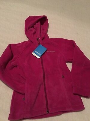 Columbia WG6333 Benton II Youth Girl's Fleece Hoodie  Pink S Small NWT