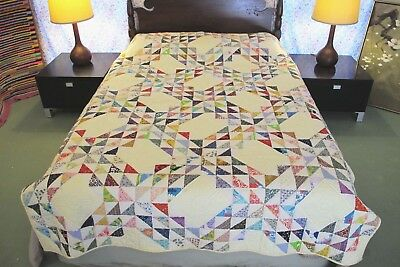 "Vintage All Cotton Hand Sewn OCEAN WAVES QUILT, Probably Never Washed; 90"" x 69"""