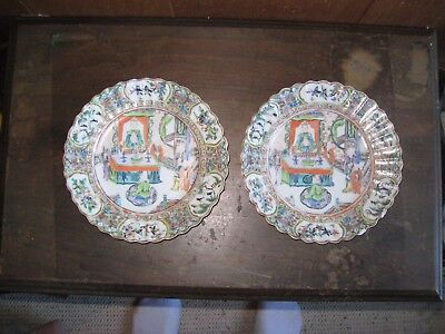 2 rose medallion 7 and  1/4 inch plates