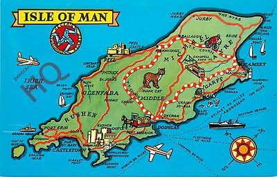 Picture Postcard- Isle Of Man, Map [Colourmaster]