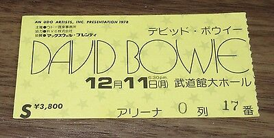 David Bowie JAPAN original 1978 concert ticket stub MORE LISTED nice condition