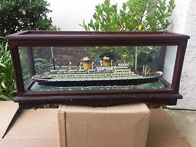 Antique Model of 1930's SS REX Italian Passenger Ship in Glass/Wood Case WWII
