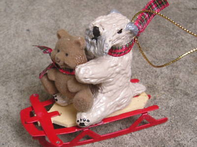Soft Coated Wheaten Terrier with a BEAR on a SLED CHRISTMAS ORNAMENT!