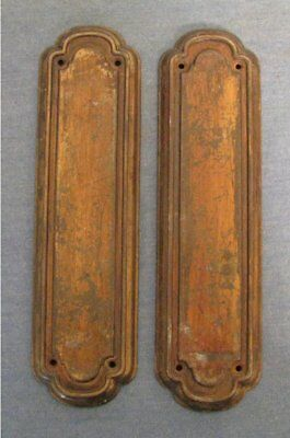 set of 2 vintage door finger push plate lot a