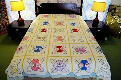 FULL-QUEEN Vintage Feed Sack Cotton Hand Sewn Applique PANSY Quilt TOP; Good !