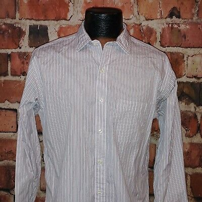 Brooks Brothers Slim Fit Men's White Red Blue Striped Dress Shirt Size 16-34