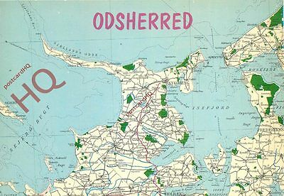 Picture Postcard-:Odsherred, Isefjord, Map