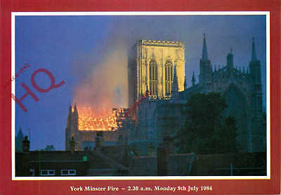 Picture Postcard-:York Minster Fire