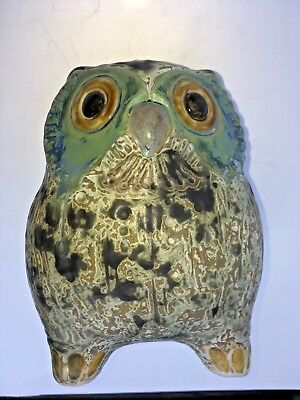 "Lladro #2020 ""Little Eagle Owl"" GRES finish- green, gold & browns - ESTATE FIND"