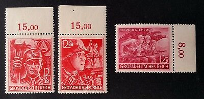 RARE 1945 Germany lot of 3 carmine red Military Patriotic stamps Mint