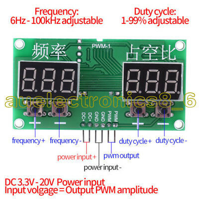 6Hz-100KHz PWM Pulse 0-99% Frequency Square Wave Signal Generator Duty Cycle AU