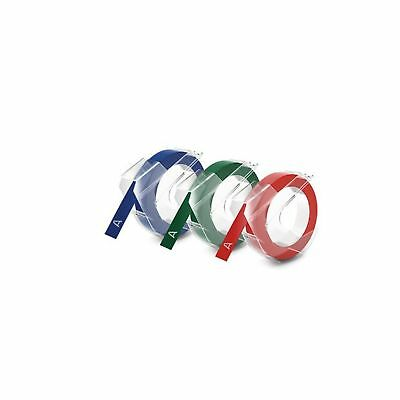DYMO Embossing Tape Red Green and Blue 3/8-Inch
