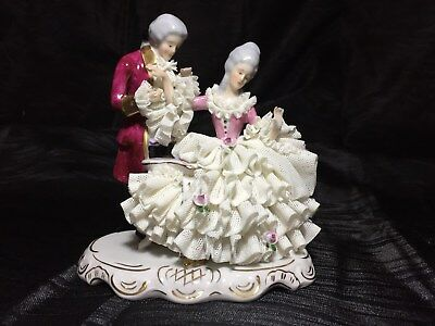 Vintage Karl Klette Porcelain Lace Figural Group Figurine Germany Dresden