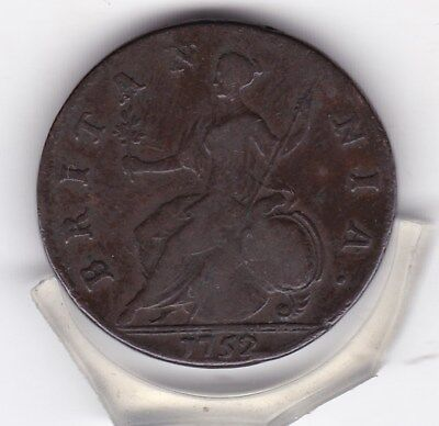1752   King  George   II   Half   Penny  (1/2d)  Copper  British  Coin