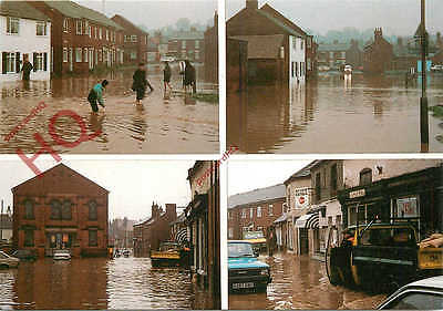 Picture Postcard~ Floods, Ashby-De-La-Zouch, 1986