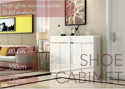 White Stoving Varnish  High Gloss Shoe Cabinet Rack Storage High Quality MDF