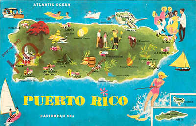 Picture Postcard::Puerto Rico, Map