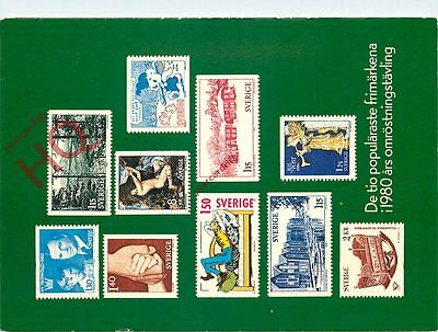 Picture Postcard:;Swedish Stamps 1980