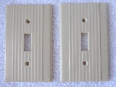 Art Deco Bakelite Switch Plate Covers Electric Vintage Ivory Ribbed Design