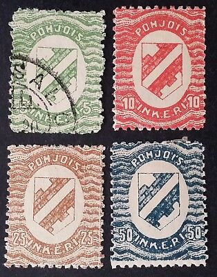 RARE 1920 North Ingria lot of 4 Coat of Arms stamps Mint & Used