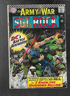 Our Army At War 168 1966 Joe Kubert  Sgt. Rock 1st Unknown Soldier good-vf 3.0
